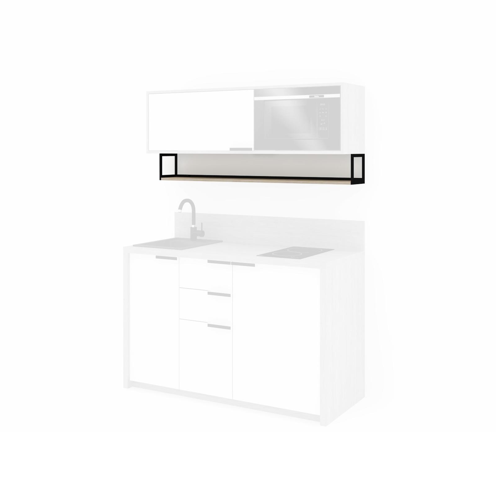 shelf below cabinets
